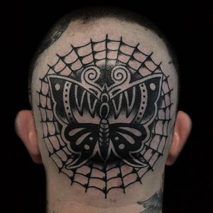 Tattoo by Austin Maples #AustinMaples #perfectlyplacedtattoos #placement #blackandgrey #traditional #butterfly #spiderweb