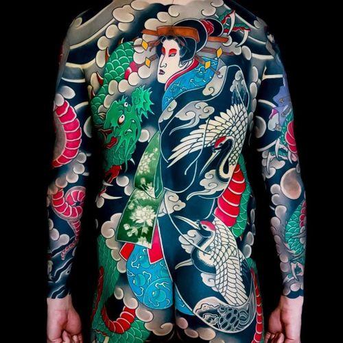 Tattoo by Luca Ortis #LucaOrtis #dragontattoos #dragon #mythicalcreature #legend #folklore #Japanese #Irezumi #geisha #clouds #cranes #birds #smoke