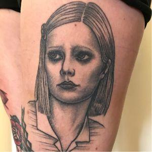 Tattoo by Sarah Schor #SarahSchor #blackandgrey #oldschool #RoyalTenenbaums #WesAnderson #portrait #MargotTenenbaum