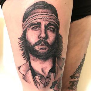 Tattoo by Sarah Schor #SarahSchor #blackandgrey #oldschool #RichieTenenbaum #RoyalTenenbaums #WesAnderson #portrait