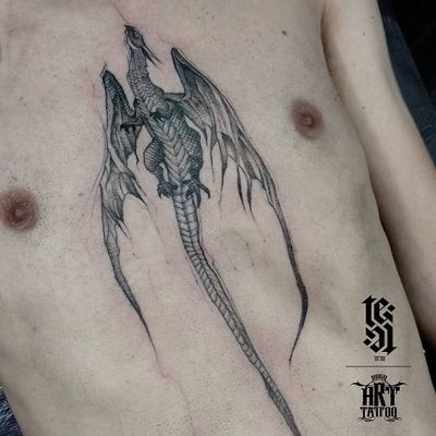 Tattoo by Fabricio Lima #FabricioLima #dragontattoos #dragon #mythicalcreature #legend #folklore #illustrative #blackandgrey