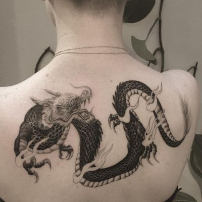 Tattoo by the.hanged #thehanged #dragontattoos #dragon #mythicalcreature #legend #folklore #illustrative #fire #Japanese