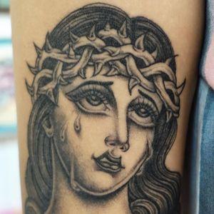 Tattoo by Sarah Schor #SarahSchor #blackandgrey #oldschool #crownofthorns #tears #ladyhead #lady #portrait #thorns