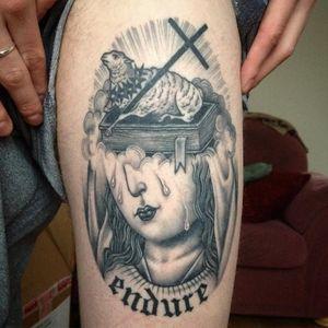 Tattoo by Sarah Schor #SarahSchor #blackandgrey #oldschool #virginmary #tears #sheep #thorns #cross #bible #book #oldenglish #font #text #religious