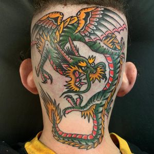 Tattoo by Ross K Jones #RossKJones #dragontattoos #dragon #mythicalcreature #legend #folklore #color #traditional