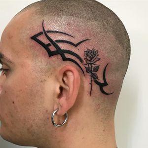 Tattoo by Sarah Schor #SarahSchor #blackandgrey #oldschool #tribal #rose #flowers #floral #leaves