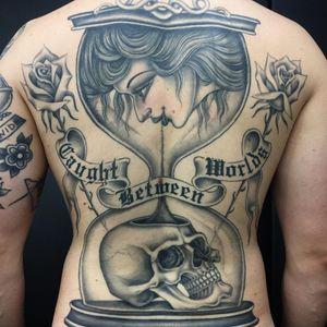 Tattoo by Sarah Schor #SarahSchor #blackandgrey #oldschool #rose #flowers #floral #skull #banner #oldenglish #ladyhead #death #hourglass