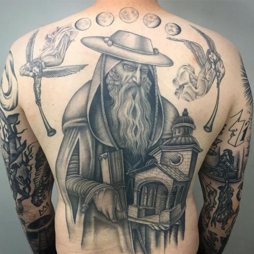 Tattoo by Sarah Schor #SarahSchor #blackandgrey #oldschool #mooncycle #angels #horns #church #architecture #oldman #book #renaissance #byzantine #medieval