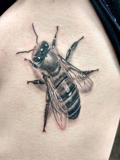 Find Richard Hart on FB. #bee #nature #beetattoo #naturetattoo #greywash #blackandgreytattoo #realismtattoo #realism #insects #insecttattoo