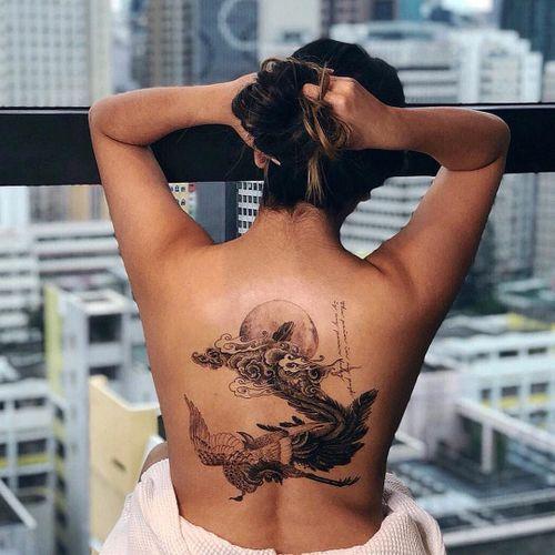 Tattoo by Ilwolhongdam #Ilwolhongdam #hongdam #besttattoos #best #illustrative #Chinese #Japanese #phoenix #illustrative #painting #fineart #script #Moon #bird #feathers #fire