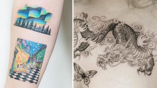 Tattoo on the left by Tattooist Ida and Tattoo on the right by the.hanged
