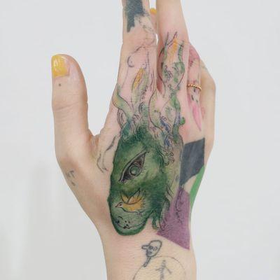 Tattoo by Tattooist Doy #TattooistDoy #handtattoo #hand #jobstopper #illustrative #watercolor #color #Chagall #MarcChagall #rabbit #bird #animal #impressionist #fineart #shapes #abstract