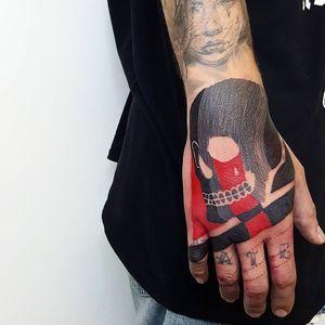 Tattoo by Matteo Nangeroni #MatteoNangeroni #handtattoo #hand #jobstopper #linework #black #skull #death #redink #illustrative #bold #graphic #teardrop #tear