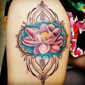 Lotus Mandala watercolor Tattoo by: Courtney Vice Collette Jackson, Mississippi