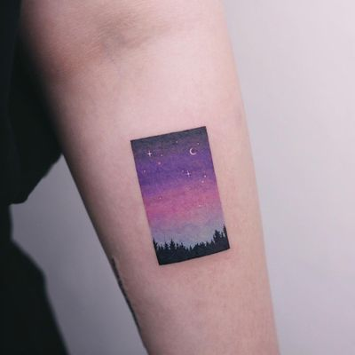 Tattoo by Saegeem #Saegeem #besttattoos #best #color #watercolor #sky #stars #moon #forest #trees #landscape #night