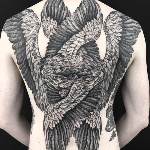 Tattoo by Maud Dardeau #MaudDardeau #besttattoos #best #backpiece #backtattoo #illustrative #blackwork #engraving #etching #wings #feathers #fineart #eye