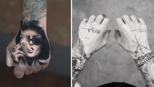 Tattoo on the left by Jefree Naderali Tattoo on the right by Mr K #JefreeNaderali #MrK #handtattoo #hand #jobstopper