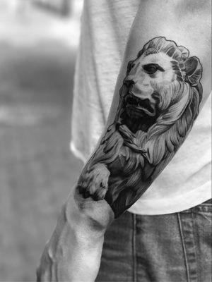 Lion #liontattoo #linework #dotwork #dotworktattoo #blackandgrey