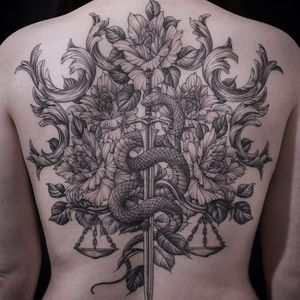 Tattoo by Tattooer Intat #TattooerIntat #besttattoos #best #illustrative #linework #etching #engraving #flowers #floral #peony #snake #reptile #knife #sword