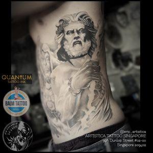 Black and grey zeus piece on my client left rib. Picture shown fully healed. Thanks for viewing. #tattoo #tattoolover #ilovetattoos #zeus #mythology #greekgod #blackandgreytattoo #nopainnogain #artistica #artisticasingapore #artisticatattoo #balmtattoo #balmtattoosg #balmtattoosingapore #balmtattooteamsg #balmtattooartist #dragonbloodbutter #nedzrotary #criticaltattoosupply
