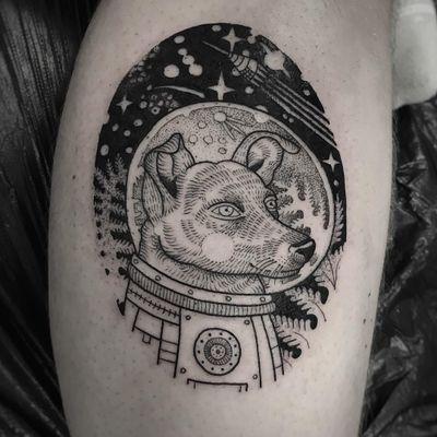 Tattoo by Suflanda #Suflanda #cutetattoos #cute #illustrative #linework #dog #space #astronaut #fern #leaves #stars #galaxy #planets #spaceship