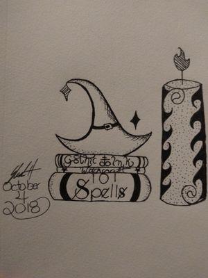 #witchcraft #Spells #Candle #Witchhat #inktober #GothicInk