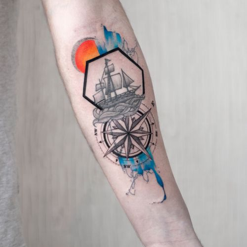 Compass and some brush strokes (Ship tattoo is not mine)