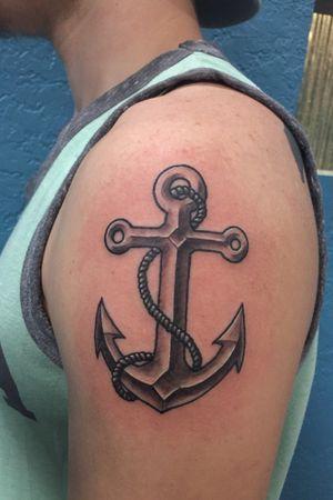 Simple anchor tattoo i did for a #walkin #tattoo #anchortattoo #armtattoo #blackandgreytattoo #tattoos #tattooshop #sherwood #littlerock