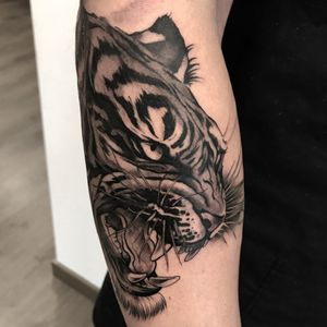 Part of a full sleeve black and grey japanese style tattoo