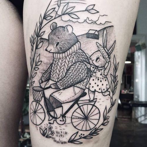 Tattoo by Agata Zlotko Piwowar #AgataZlotkoPiwowar #cutetattoos #cute #linework #illustrative #bear #bunny #bike #nature #leaves #landscape #friends