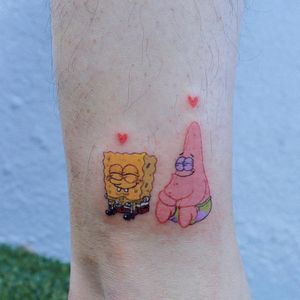 Tattoo by Log Tattoo #LogTattoo #cutetattoos #cute #spongebobsquarepants #spongebob #PatrickStar #starfish #sponge #heart #love #friends #tvshow #funny #cartoonnetwork