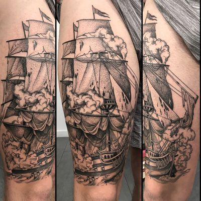 #boat #ship #smoke #thigh #linework #black