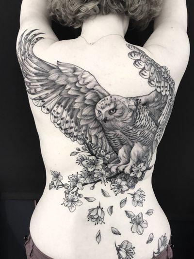 #owl #backpiece #black #flowers #cherrytree #linework