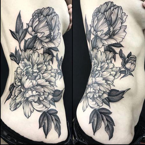#flowers #ribs #sides #peonies #peony #linework #black