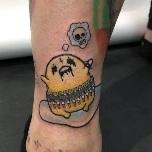 Tattoo by Jessica V #JessicaV #gudetamatattoos #gudetama #sanrio #egg #sad #lazy #foodtattoo