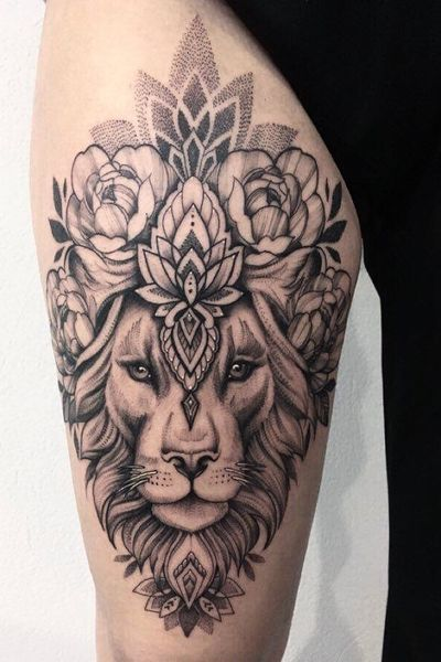 #tattoo #tattooart #dotwork #girl #lion #blackwork