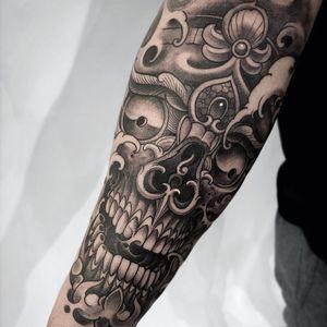 Tattoo by Fibs #Fibs #ElFibs #illustrative #darkart #skull #death #blackandgrey