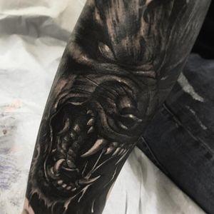 Tattoo by Fibs #Fibs #ElFibs #illustrative #darkart #blackandgrey #wolf #fangs #demon