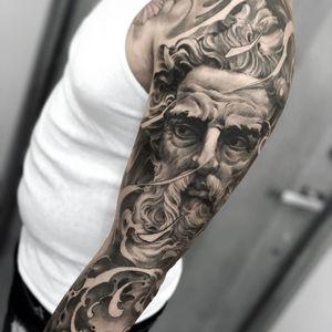 Tattoo by Fibs #Fibs #ElFibs #illustrative #darkart #blackandgrey #sculpture #waves #god #deity