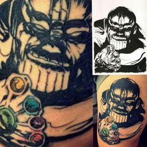 Original Art by #mattslay, #thanostattoo #thanos #tattooart #comicbook #infinitywar #avengers #avengerstattoo #lineworktattoo #turtlestyletattoocompany #tattooartist #geektattoos #MarvelTattoos #inkedguys #inkedmen