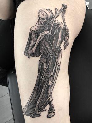#death #black #linework #skeleton #thigh #engraving