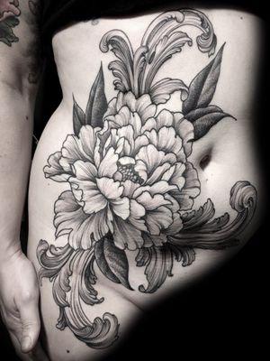 #peonies #belly #flower #acanthusleaves #black #linework #engraving