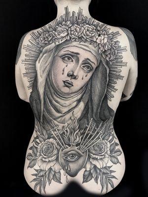#backpiece #madonna #virgin #heart #sacredheart #daggers #pain #cry #black #linework #engraving