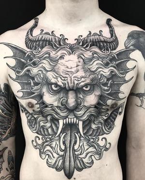 #devil #demon #black #chest #linework #engraving