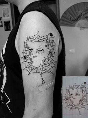 My work #tattoo #artist #tattooartist #art #Bishoprotary #eternalink #ilovetattoo #sonami #sonamiaoi #thankful #nice #portrait #face #iloveart #cobweb #cobwebtattoo