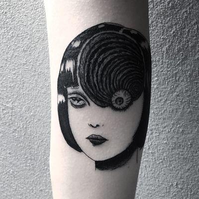 Tattoo by Frankie Sexton #FrankieSexton #eyetattoos #eyetattoo #eye #anatomy #JunjiIto #eroguro #anime #manga #portrait #Uzumaki #spiral #strange #surreal #illustrative #blackwork