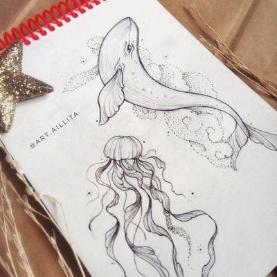 #sketch #sketching #geometric #medusa #medusatattoo #Whale #whaletattoo #sea #cloud #blacktattoo #whipshading