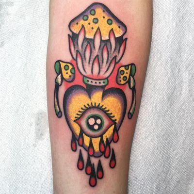 Tattoo by Julian Bast #JulianBast #eyetattoos #eyetattoo #eye #anatomy #color #traditional #surreal #psychedelic #mushroom #sacredheart #strange #blood #fire #nature