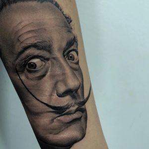 Tattoo by Gutierrez #Gutierrez #SalvadorDalitattoos #Dalitattoos #Dali #salvadordali #surrealism #surreal #painter #fineart #blackandgrey #portrait #coverup #scarcoverup #realistic #realism #hyperrealism