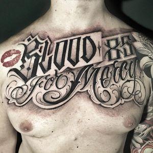 Tattoo by Delia Vico #DeliaVico #lettering #script #oldenglish #font #quote #lips #filigree #tattoodomission #tattoodovision #tattoodo #tattoodoapp